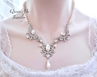 Pearl necklace Pearl and crystal collar Swarovski Wedding Bridal Vintage Victorian style Necklace for a Bride ANGELINA