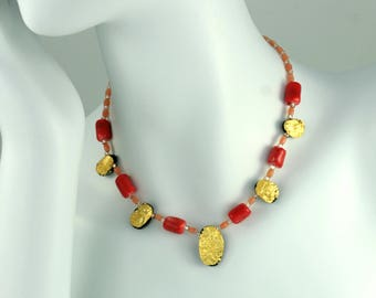 """Gold and Coral Necklace, 23 Karat Gold leaf on Tektite, Gilded Jewelry, Toggle Clasp, 18"""""""