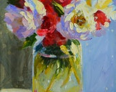 Original Painting BOSSIE BLOMME,  floral still life, flowers in mason jar, pink and blue, gift for mom