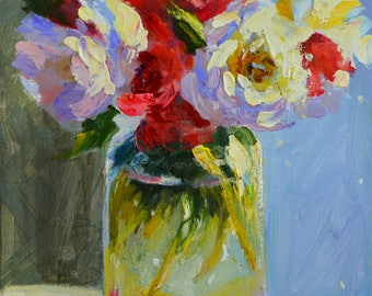 Original Oil Painting BOSSIE BLOMME,  floral still life, flowers in mason jar, pink and blue, gift for mom