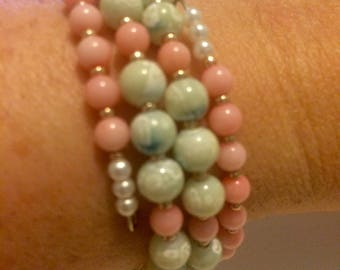 Beautiful Pink and Light Green Memory Wire Bracelet/Bangle