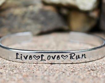 Run Bracelet, Gift for Runners, Runner Bracelet, Live love run Cuff, Runner Bangle Cuff, Live Love Run Bangle Cuff, Live Love Run Bangle
