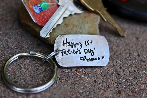 Handwritten Message Gift, Real Handwriting Keychain, handwriting pressed deep into metal (not simply engraved), Handwritten Message Gift