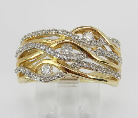 14K Yellow Gold Diamond Crossover Anniverary Ring Multi Row Band Size 7