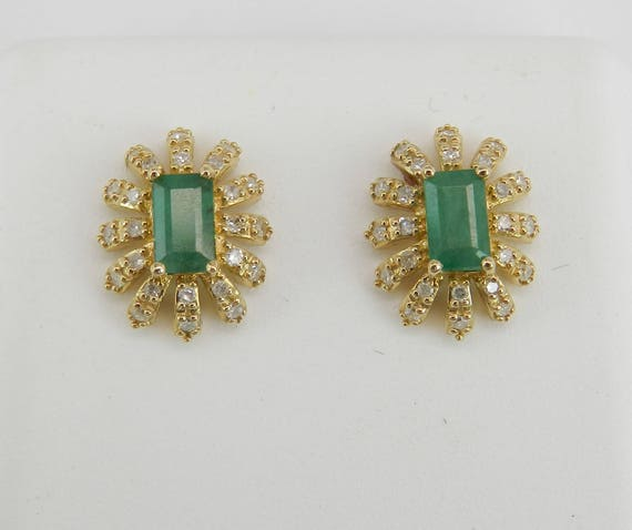 Emerald and Diamond Stud Earrings Halo Studs Yellow Gold Green May Gemstone