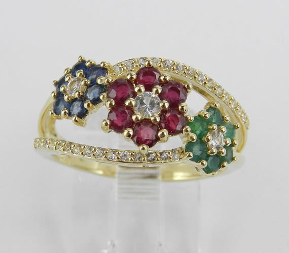 Yellow Gold Sapphire Ruby Emerald Ring Flower Cluster Band Size 7 Multi Gemstone