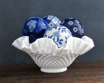 "Fenton 10"" Double Ruffle Milk Glass Bowl, Fenton Hobnail Bowl"
