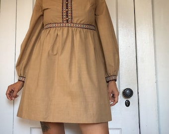 Vintage 60s Dress mini empire waist natural brown boho minidress