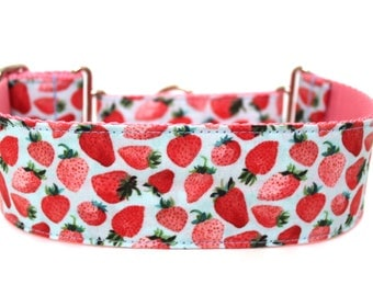"Strawberry Dog Collar 2"" wide Martingale Dog Collar for Large Breed Dogs Pink Dog Collar Summer Dog Collar"