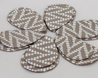 12pcs  Leather Teardrops, Tan with White Genuine Leather