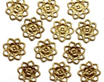 Brass Flowers, 12 Piece, Flower Connectors, Open Petal Flower, Jewelry Making, Unplated Brass, Us Made, Nickel Free, B'sue, 21mm, Item03262