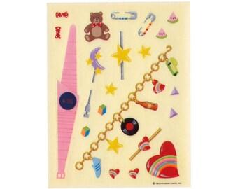 Vintage 80's HALLMARK Stickers Sheet ~ CHARM BRACELET Jewelry Watch Friendship Pins Hearts Rainbow