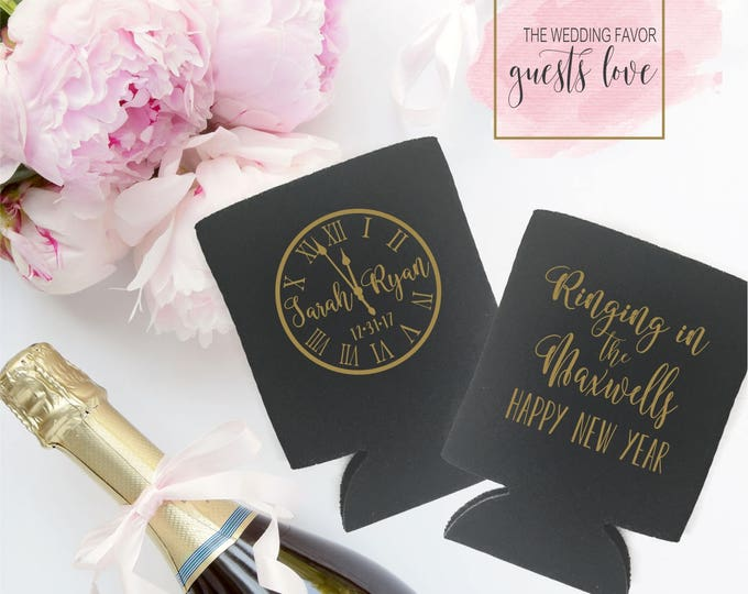 New Years Eve Wedding Can Coolers | NYE Wedding Party Favor | Personalized  for Bride and Groom | Ringing in 2018 | FREE Shipping