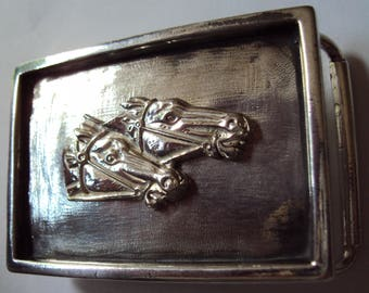 """Hallmarked Solid Sterling Silver Horses """"By a Nose"""" Belt Buckle"""