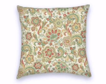 Taupe Red Gold Green Cotton Floral Decorative Throw Pillow-18x18 or 20x20 or 22x22- Pillow Cover- Accent Pillow