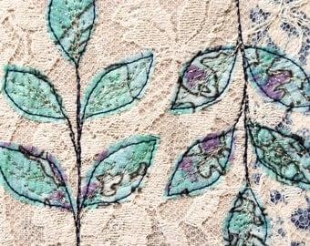 Vintage fabric collage delicate pretty leaf embroidery block original art