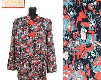 ON SALE 1940s Jacket // Oriental Novelty Print Rayon Quilted Lounge Pajama Jacket