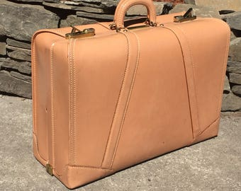 Vintage Blush Camel Leather Suitcase Suit Case Luggage Linen Interior Travel Carry on, Rare Color and Condition !