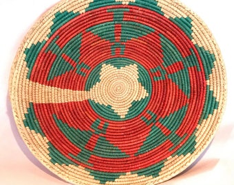 Handwoven Lotus Basket Tray Red and Green