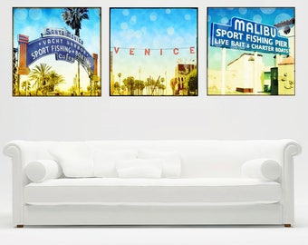 California Art, Surf Art, Large Canvas Wall Art, California Wall Art, Santa Monica Sign, Venice Sign, Malibu Pier Retro Beach Surf Art,