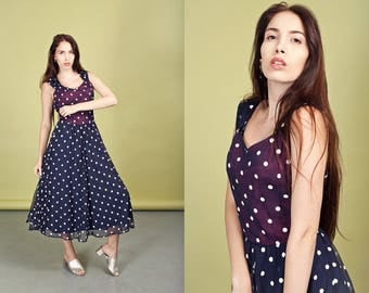 70s Polka Dot Dress Vintage Dark Blue Dotted Swing Dress