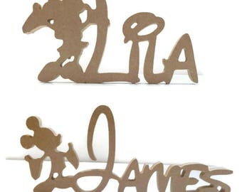 MDF Wooden Mickey Mouse, Minnie Mouse Disney Custom Name Plaque