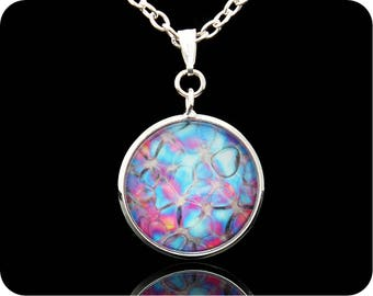 Science Jewellery - Biology Jewellery - Science Pendant - Rose stem section by polarised light microscopy - rose necklace - scientist gift