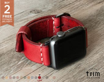Apple Watch Band 38mm 42mm Leather Watch Band Leather Watch Strap Minimal Series 1, 2 and 3 Lava Cherry Red [Handmade] [Custom Colors]