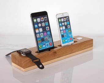 Dual iPhone Dock + Dual Apple Watch Dock / Wooden iPhone Charging Station / Dual Dock / Handmade from oak and maple