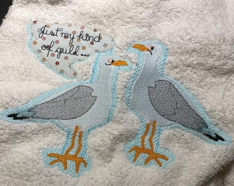 MANUEL the SPANISH SEAGULL, a whimsical, yet very Proud bird, 5 different Machine Embroidery designs for different use, also towel designs