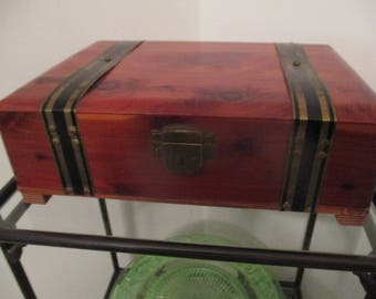 Plain Wooden Document Box With Metal Strapping With Lock and Key