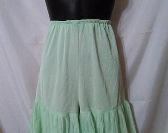 SUMMER CLEARANCE SALE 60s Vintage Nylon Bloomers-Plisse Hem Slip Underwear-Medium-Pajama Bottom
