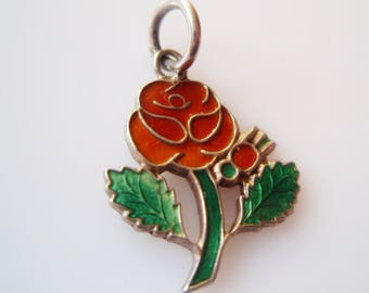 Sterling Silver and Enamel Red Rose Charm