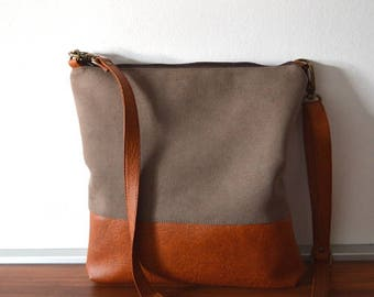Crossbody bag in taupe and tan, Everyday purse, Shoulder bag