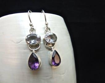 Alexandrite & Amethyst Sterling Silver Earrings