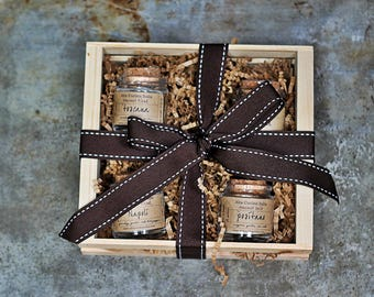 Salt Gift Set - Gourmet Set - Spices, Seasoning Blends & Gourmet Salts Set - Italian Artisan Seasoning Set- Crate Set - Gift Box
