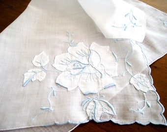 """1950's Vintage Organdy Cotton Hanky, Raised Blue Embroidery, Shadow Work Rose, Hand Rolled Hems, 15.5"""" x 15.5"""""""