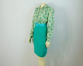 Vintage Dress 80s Green Knit Pencil Skirt Stretch Knit Sweater Skirt Size Modern XS - S Extra Small to Small