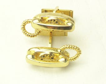 Vintage CUFF LINKS Gold Tone 1950's Telephone Men's Man's Fathers Day Gift For Him on Etsy