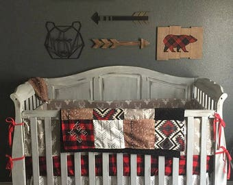 Patchwork Blanket- Deer Skin Minky, Gray Buck, Black Minky, White Gray Arrow, Red Black Check, and Aztec Patchwork Blanket