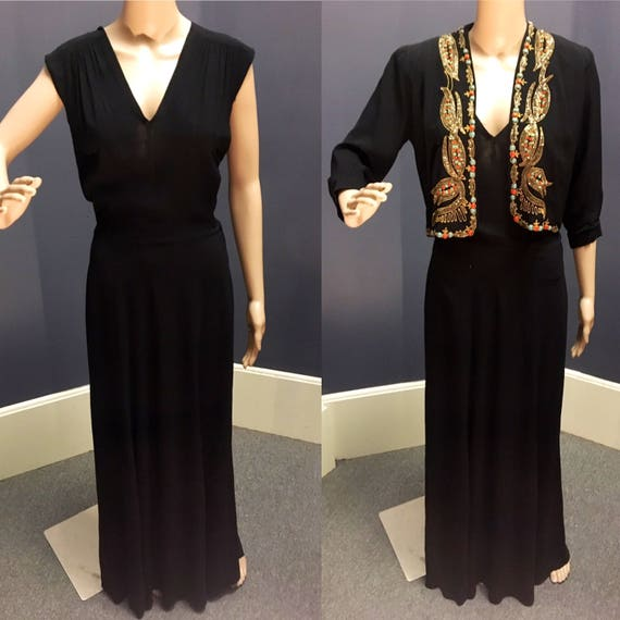 "Vintage 1940s 2 Piece Beaded Sequined Black Crepe Dress 28"" W"