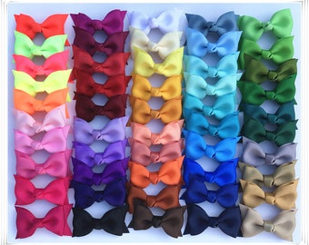 Set of 2 pcs 2.5 inch Double layer Bows, teen hair bows, back to school, Boutique bows, Pig Tail Bows,  Wholesale ,50 colors to choose
