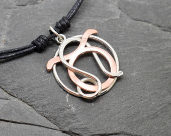 Taurus leo combined zodiac necklace sterling silver