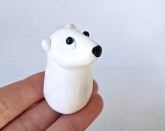 Polar Bear Figurine Handmade Gift Polymer Clay Totem For Any Animal Lover