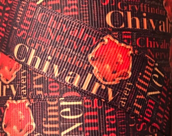 7/8 Inch Grosgrain Ribbon - Printed Grosgrain Ribbon - Gryffindor Ribbon - Ribbon By The Yard - Ribbon Supplies - Harry Potter House Ribbon