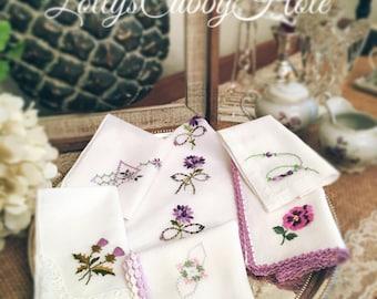 Vintage Hankies, Bride's Handkerchief, Lavender, Purple, Wedding, Something Old, Bridesmaids Gift, Happy Tears Hankies (6)