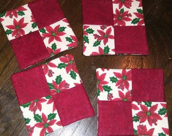 Set of 4 Christmas/Holiday Poinsettia Fabric Wine Glass Coasters