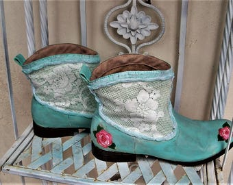 Ankle boots, distressed, hand painted, grunge booties, blue boots, size 9 1/2 to 10, custom boots, up cycled Roxy boho chic, bohemian gypsy