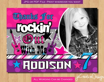 thank you cards kids birthday thank you cards Rockstar Invitation Rockstar Birthday Rockstar Party Rock Star Birthday Rock star party Photo