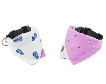 Aloha / Hibiscus Reversible Dog Bandana Collar
